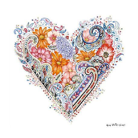 Servilleta decorada para la técnica del decoupage - Spring Heart