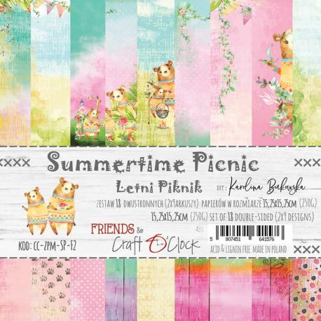 Craft O'Clock - Papel para scrapbooking Summertime Picnic de 15x15