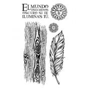 Stamperia - Set de sellos de caucho Cosmos Feather (WTKCCR06)