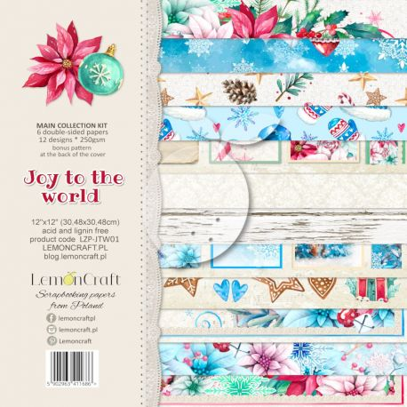 LemonCraft - Set de cartulinas para scrapbooking Joy to the World 30x30 (LZP-JTW01)