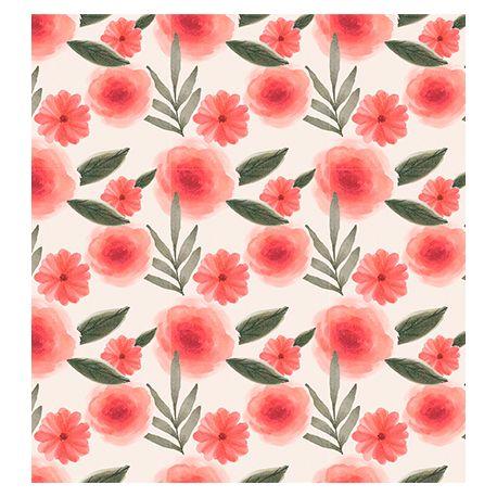 Tejido de puntos Interlock Flores Rojas