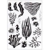 Set Sellos acrílicos Siluetas Coral y Algas