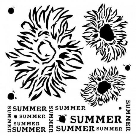 Stencil End of Summer - Summer flowers