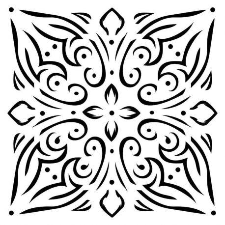 Stencil Bella - Tile Ornament