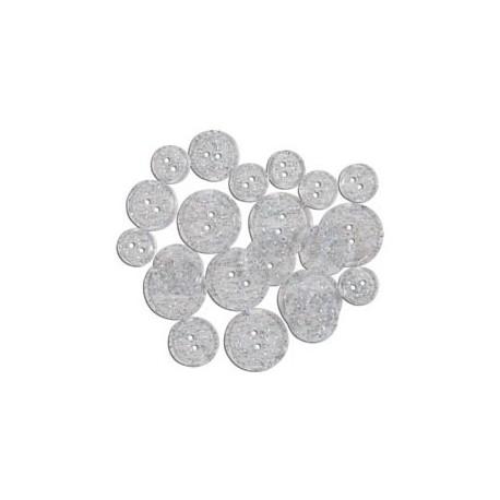 GLITTER BUTTONS - Clear Glitter Transparent