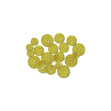 GLITTER BUTTONS - Yellow Sunshine Transparent