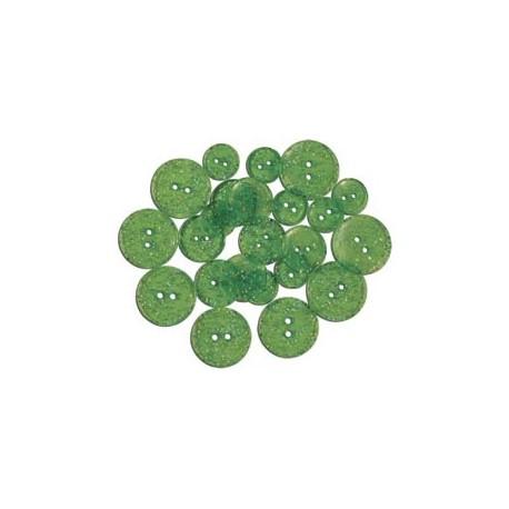 GLITTER BUTTONS - Lime Light Transparent