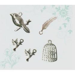 Charms pájaros y jaula plata