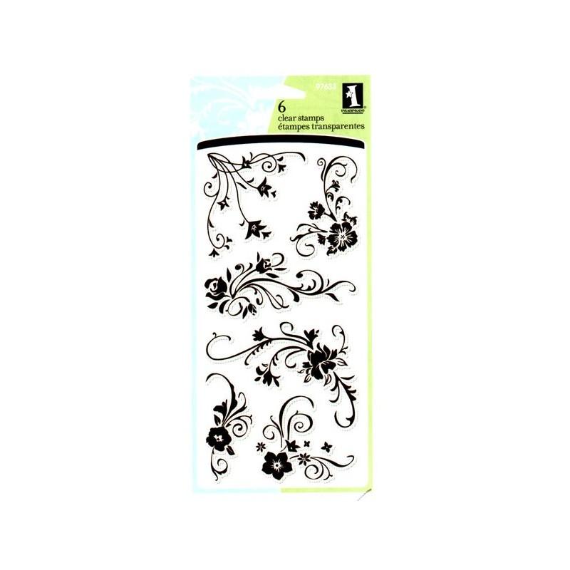 set sellos acrílicos Doodling Flores