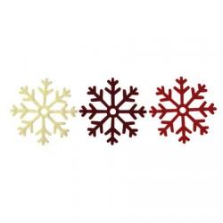 6 Copos de Nieve (Blanco, rojo, burdeos)