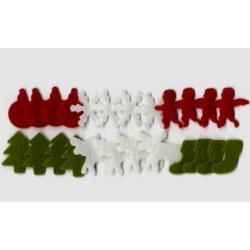 Surtido 24 figuras navideñas (blanco, rojo, verde)