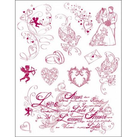 Surtido sellos Acril. Motivos Amor