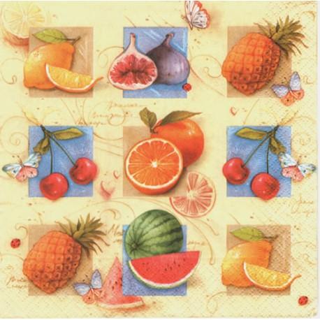 Servilleta decorativa para decoupage realizada en celulosa de tres capas. Modelo: frutas exóticas