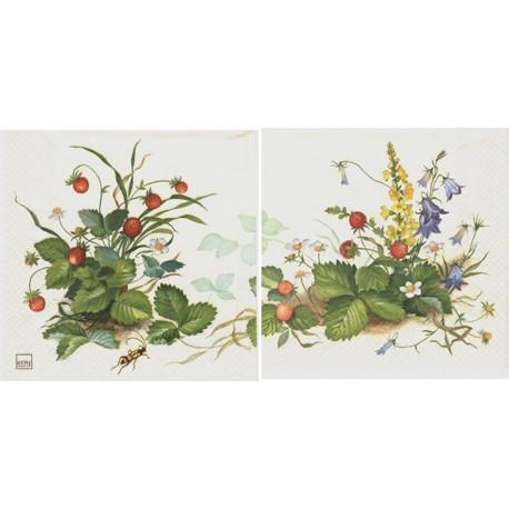 Servilleta decorativa para decoupage realizada en celulosa de tres capas. Modelo: arbusto con fresas