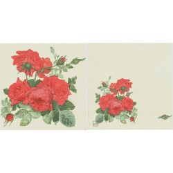 Servilleta decorativa para decoupage realizada en celulosa de tres capas. Modelo: rosas rojas
