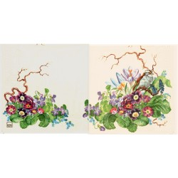 Servilleta decorativa para decoupage realizada en celulosa de tres capas. Modelo: arbusto con flores