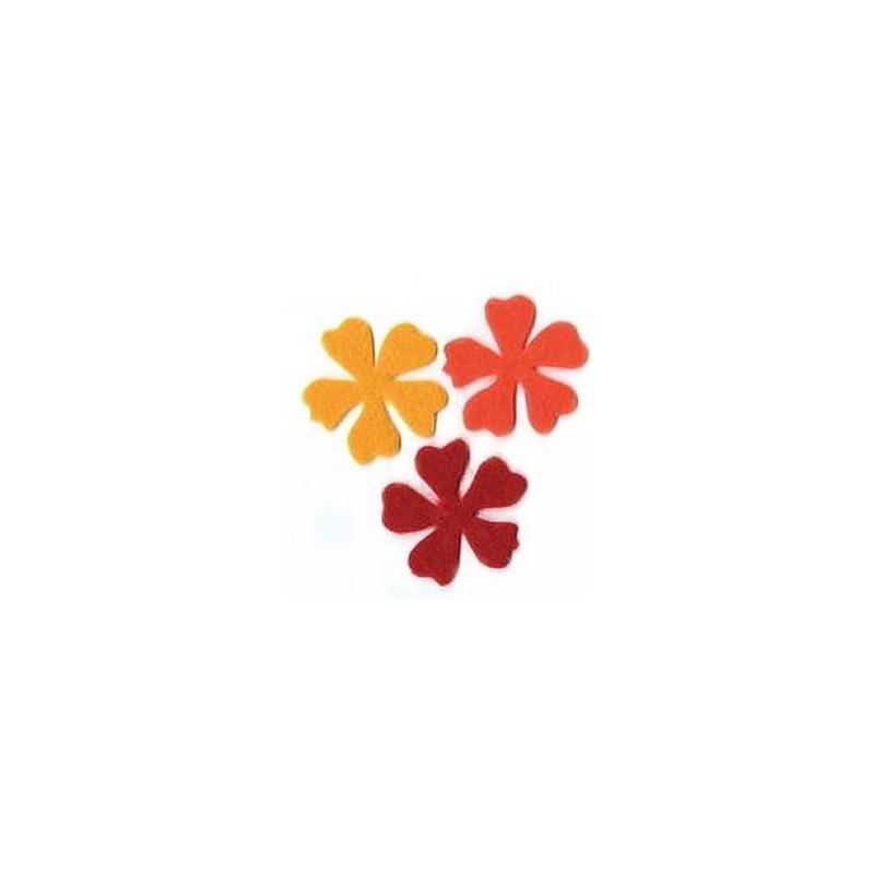 Flores fieltro medianas amarillo-naranja-rojo