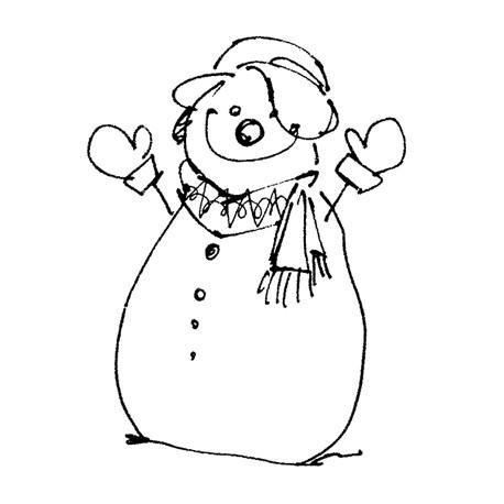 Sello Caucho Muñeco de Nieve