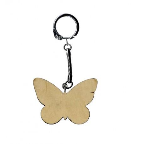 Llavero madera para decorar en forma de mariposas