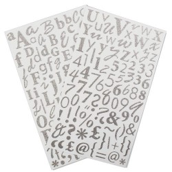 Glitter Sticker Alfa - Plata