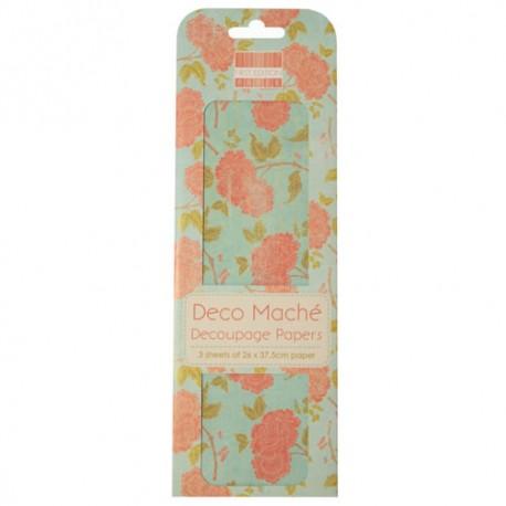Papel decorado para la técnica del decoupage Deco Maché first Edition Orange Bloom
