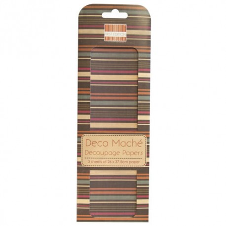 Papel decorado para la técnica del decoupage Deco Maché first Edition Multi Stripe
