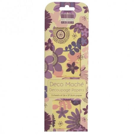 Papel decorado para la técnica del decoupage Deco Maché first Edition Purple Bloom