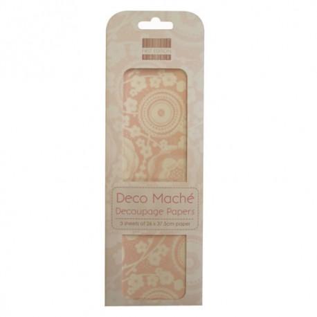 Papel decorado para la técnica del decoupage Deco Maché first Edition Pink blossom