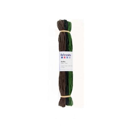 Rafia 3x45m - Verde Negro Marón