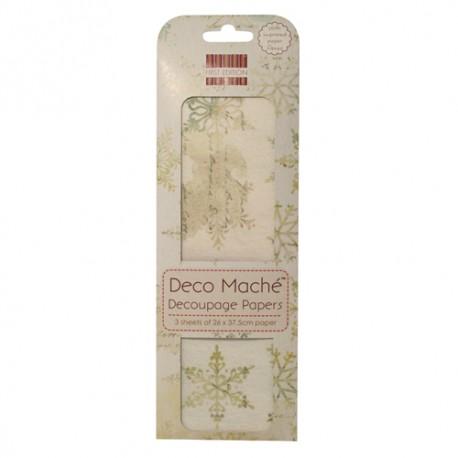 Papel decorado para la técnica del decoupage Deco Maché first Edition Snowflakes