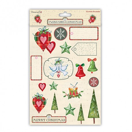 Twelve Days of Christmas Glitter stickers