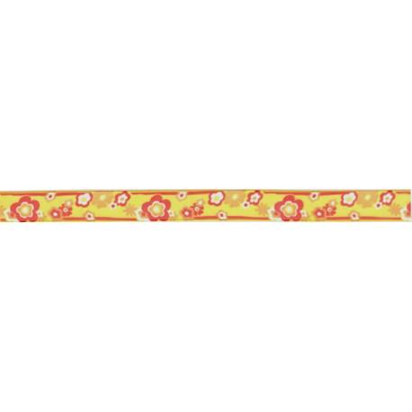 Cinta Organdi flores Amarillo Rojo