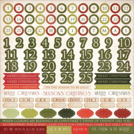 Christmas Carol Cardstock Numbers Stickers