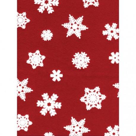 Fieltro Estampado - Copos fondo Rojo