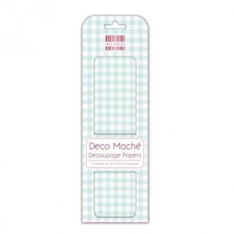 Papel decorado para la técnica del decoupage Deco Maché first Edition Blue Gingham