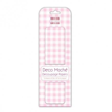 Papel decorado para la técnica del decoupage Deco Maché first Edition Pink Gingham