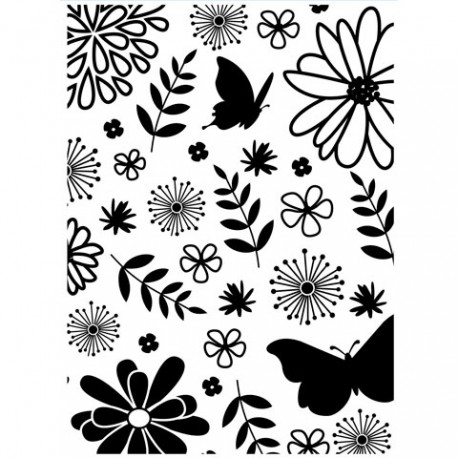 Embossing folder - Floral & Butterfly Background