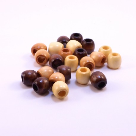 Wood Pony Beads Earthtone
