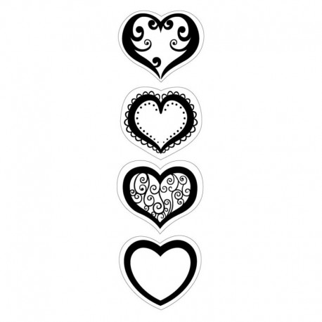 Hearts - Cling mini Stamp