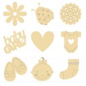 Mini siluetas de madera Baby Girl