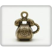 Metal Charms Set Retro Telephone