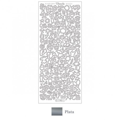 Peel off Doodle Design Plata