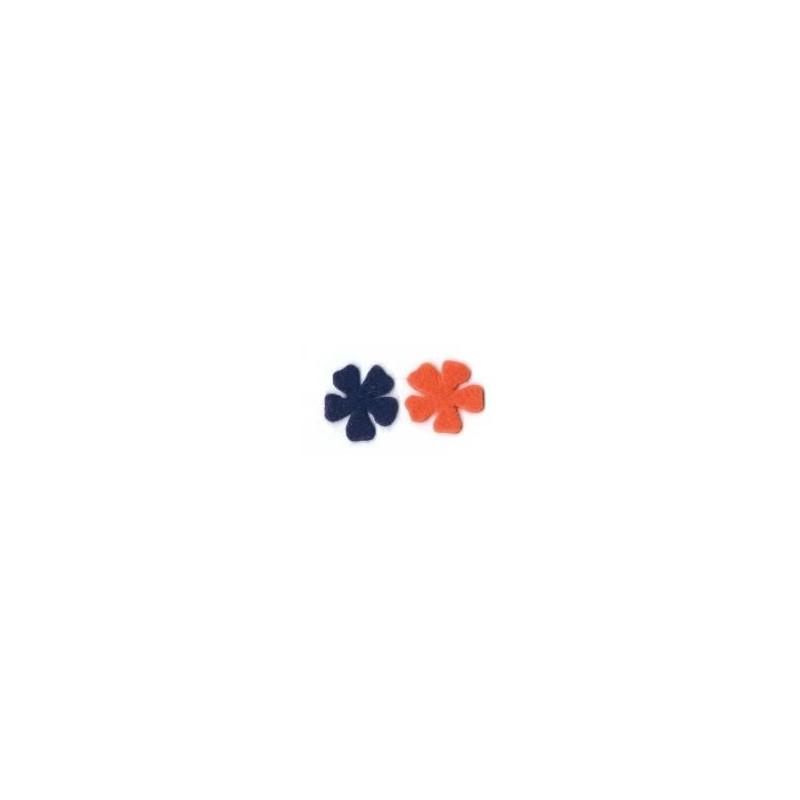 14 flores fieltro Berenjena Naranja