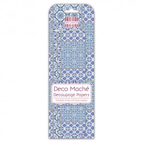 Papel decorado para la técnica del decoupage Deco Maché first Edition Marrocan Tiles
