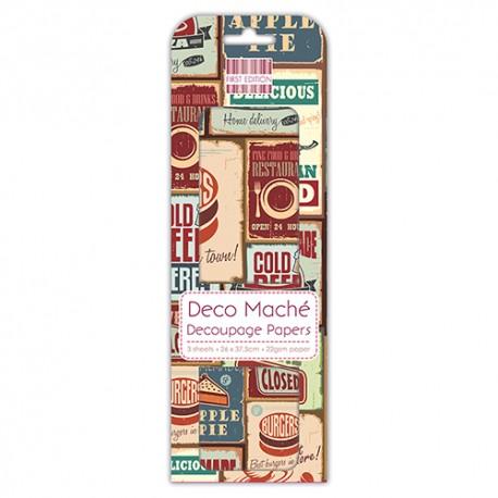 Papel decorado para la técnica del decoupage Deco Maché first Edition Food signs