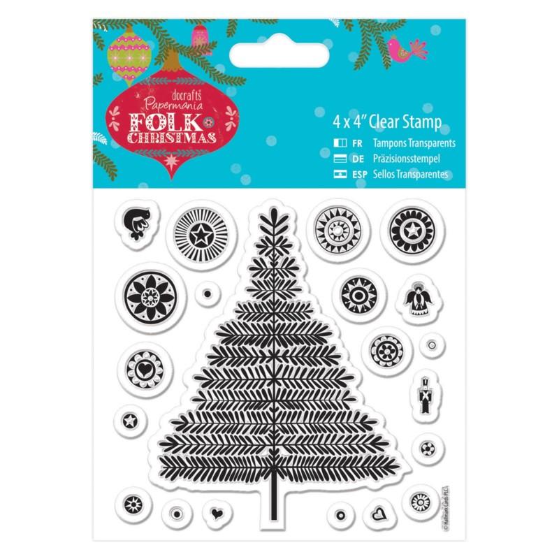 Sello acrilico Folk Christmas - Tree