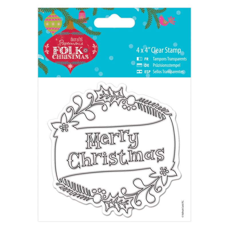 Sello acrilico Folk Christmas - Merry